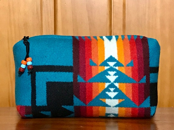 Wool Unlined Clutch XXL Optional Fringed or Beaded Pull / Cosmetic Bag / Makeup Bag / Travel Bag XXL Turquoise Chief Joseph