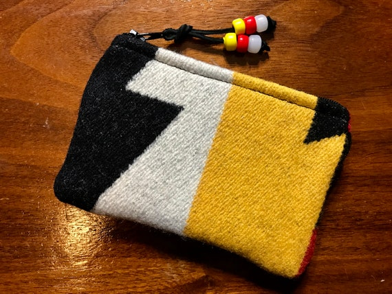 Wool Coin Purse / Phone Cord / Gift Card Holder / Zippered Pouch XL Bold Geometric