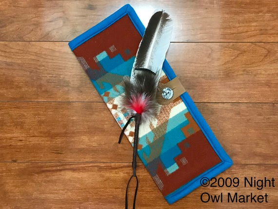 Feather Holder / Feather Case Wool Earthy Turquoise