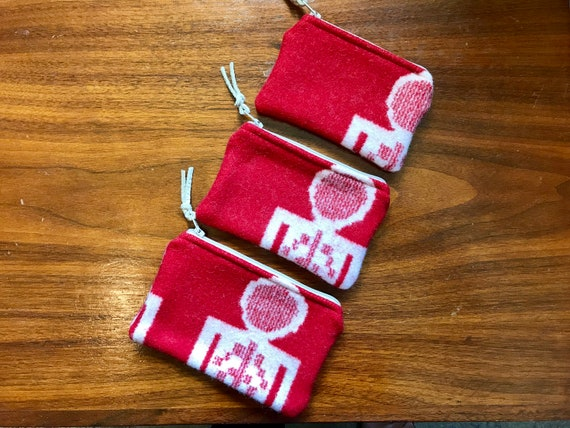 Organizer Set of 3 / Travel Set Wool Red and White Southwestern Tribal Geometric Handcrafted Using Fabric from Pendleton Woolen Mills