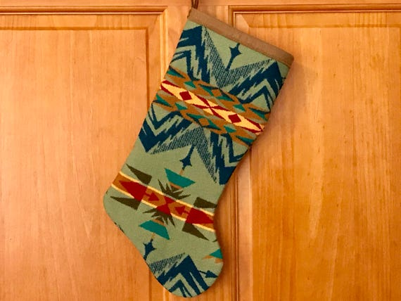 Christmas Stocking XL Wool Sage Green Echo Peaks