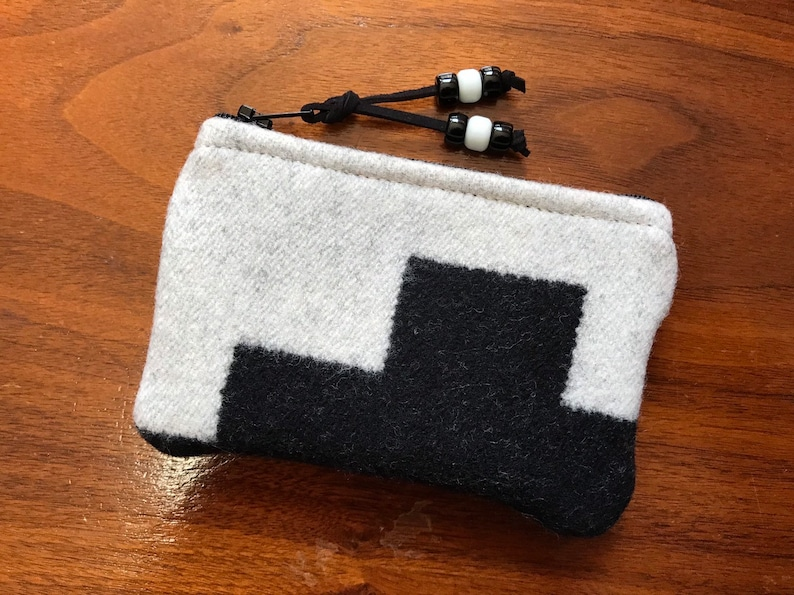 Wool Coin Purse  Phone Cord  Gift Card Holder  Zippered Pouch XL Black /& White  Geometric Handcrafted Pendleton Woolen Mill Fabric