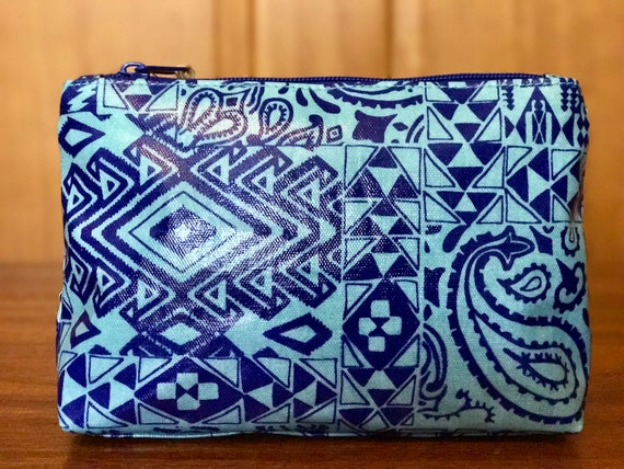 Pendleton Coated Canvas Cosmetic Bag / Case Bandana Turquoise