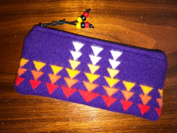 Wool Sunglasses Case / Glasses Case / Tampon Case / Zippered Pouch Purple Chief Joseph