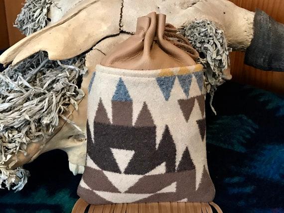 Fringed Cedar Bag / Medicine Bag / Possibles Bag 2XL Wool & Leather Earthtones