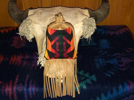 Fringed Possibles Bag Large / Cedar Bag / Medicine Bag / Drawstring Bag Red Condensed Wool & Leather