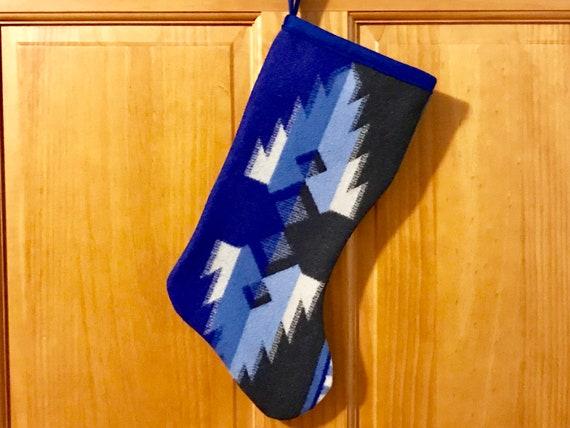 Christmas Stocking XL Wool Sapphire Blue & Black