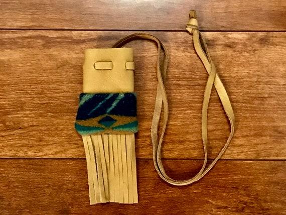 Fringed Medicine Bag / Amulet Bag Wool & Leather