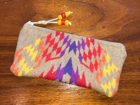 Wool Glasses  Case / Tampon Case / Zippered Pouch Bright Khaki Geometric