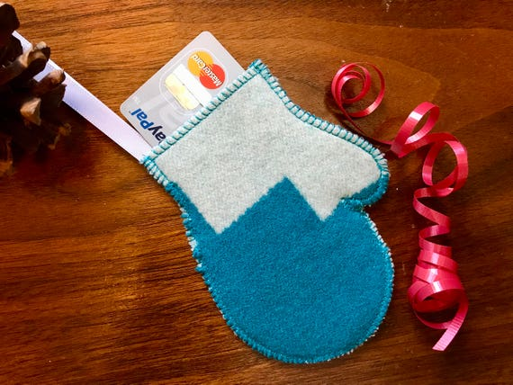 Mitten Christmas Ornament / Gift Tag / Gift Card Holder / Money Holder / Wool Turquoise & White