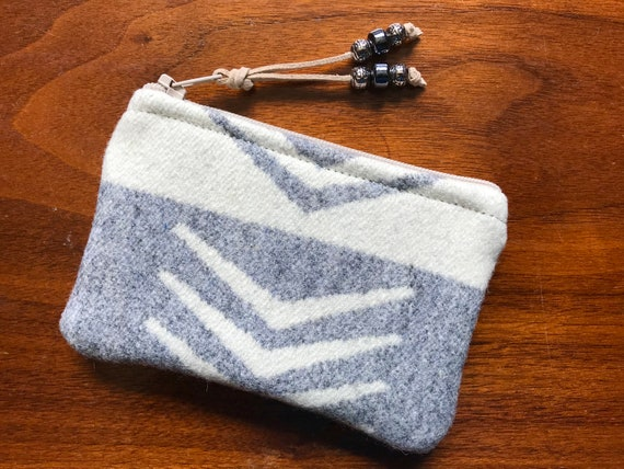 Wool Coin Purse / Phone Cord / Gift Card Holder / Zippered Pouch XL Silver Bark