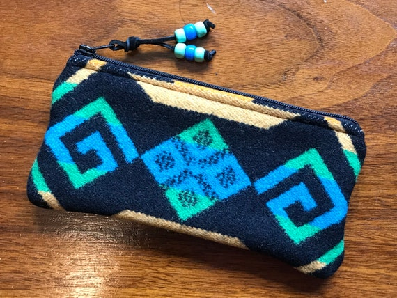 Wool Glasses  Case / Tampon Case / Zippered Pouch Bright Turquoise Coyote Butte