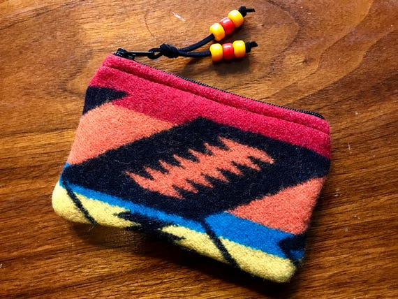 Wool Coin Purse / Phone Cord / Gift Card Holder / Zippered Pouch Orange Rainbow