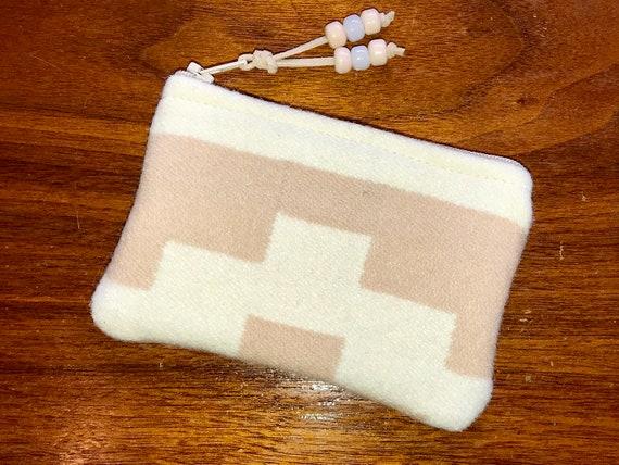 Wool Coin Purse / Phone Cord / Gift Card Holder / Zippered Pouch XL White & Peach