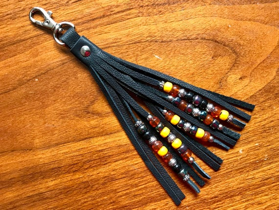 Beaded Leather Tassel on Swivel Hook - Single Fringed 5 Strand Beadwork - Zipper Pull / Purse Charm / Purse Decoration / Boho Accessory