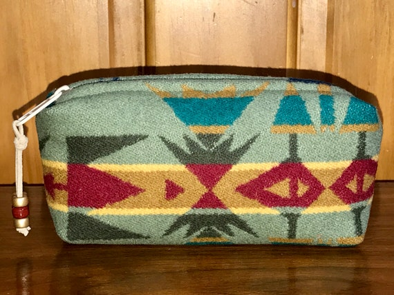 Cosmetic Bag / Makeup Bag / Zippered Pouch Small Sage Echo Peaks