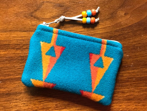 Wool Coin Purse / Phone Cord / Gift Card Holder / Zippered Pouch XL Turquoise Arrows