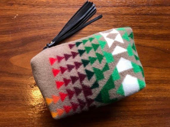Wool Unlined Clutch / Cosmetic Bag / Makeup Bag / Travel Bag XL Sapphire Overall Southwestern