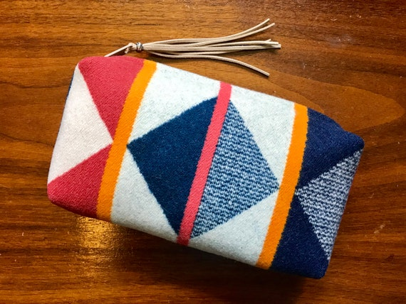 Wool Clutch Unlined / Travel Bag / Cosmetic Bag / Makeup Bag Large Navy & White Modern Geometric