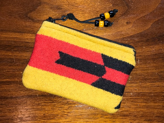 Wool Coin Purse / Phone Cord / Gift Card Holder / Zippered Pouch XL Yellow & Red
