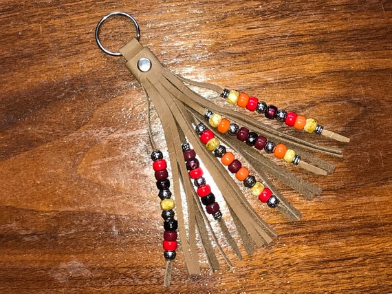 Beaded Saddletanned Leather Tassel Keyring / Swivel Hook - Fringed 5 Strand Beadwork - Sunburst - Zipper Pull / Purse Charm / Boho Accessory