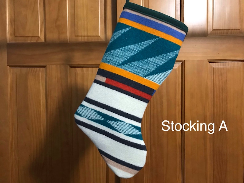 Christmas Stocking XL Green Turquoise Ridge Tribal Southwestern Geometric Handcrafted Using Fabric from Pendleton Woolen Mill