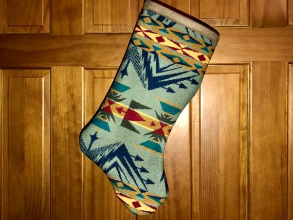 Christmas Stocking XL Wool Sage Green Echo Peaks