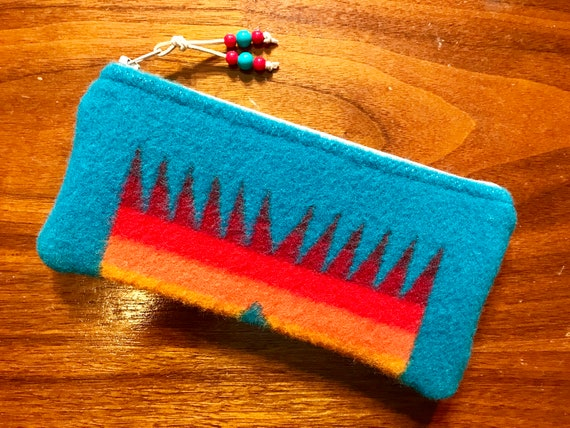 Wool Sunglasses Case / Glasses  Case / Tampon Case / Zippered Pouch Turquoise Chief Joseph