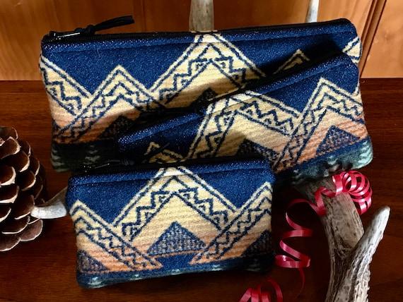 Gift Set of 3 XL / Organizer Set / Travel Set Wool Navy Blue & Yellow