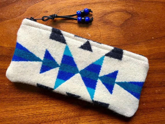 Wool Sunglasses Case / Glasses  Case / Tampon Case / Zippered Pouch Winter White & Blue Geometric