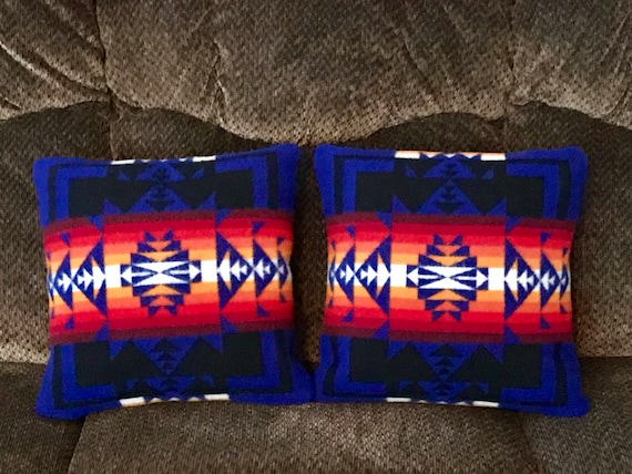 Wool Pillow Cover Pair of 2 / 16 x 16 Royal Blue Chief Joseph Zipper  Closure Southwestern Handcrafted Pendleton Woolen Mills Fabric