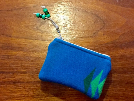 Wool Coin Purse / Phone Cord / Gift Card Holder / Zippered Pouch XL Turquoise