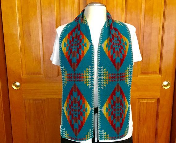 Wool Scarf  Unisex 60 x 7 Bright Turquoise Lightweight