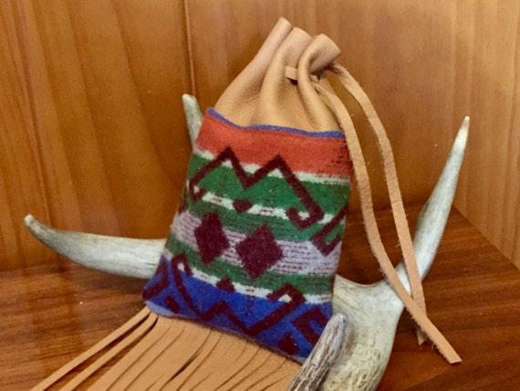 Fringed Possibles Bag XL / Cedar Bag / Medicine Bag / Drawstring Bag Wool and Leather