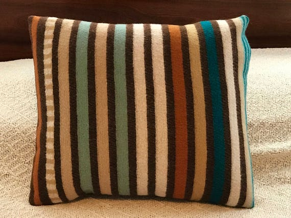 Wool Decorative Pillow / Accent Pillow / Rustic Pillow 17 x 14 Earthy Serape Stripes