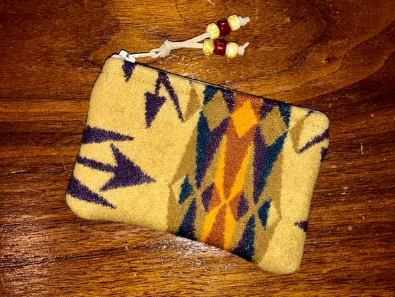 Wool Coin Purse / Phone Cord / Gift Card Holder / Zippered Pouch XL Yellow Echo Peaks