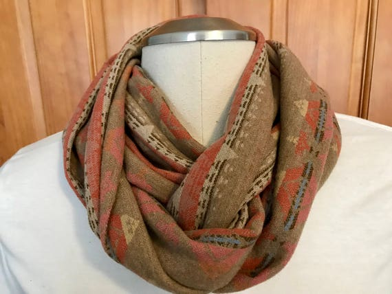 Wool Infinity Scarf Twisted / Möbius 58 x 7 Desert Sand Medium Weight