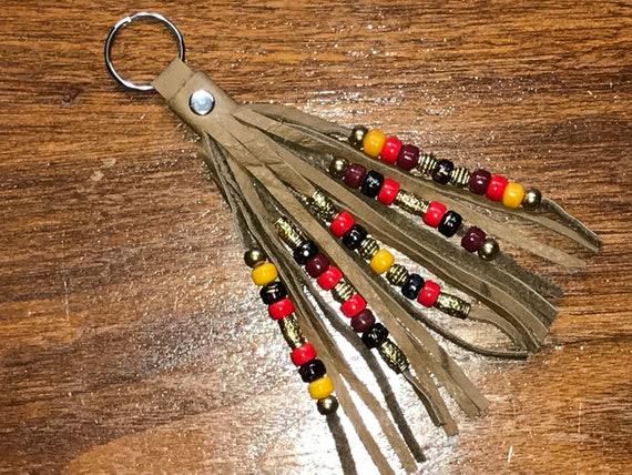 Beaded Saddletanned Leather Tassel Keyring / Swivel Hook - Fringed 5 Strand Beadwork - Yellow & Red - Zipper Pull/Purse Charm/Boho Accessory