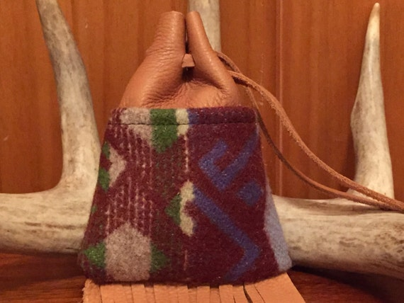 Fringed Possibles Bag Medium / Tobacco Bag / Medicine Bag / Drawstring Bag Wool and Leather Earthy Brown & Blue