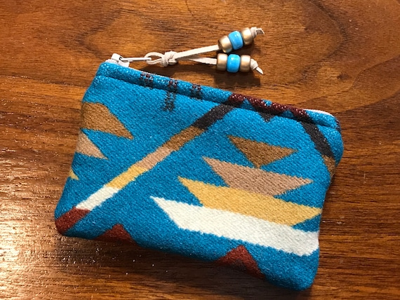 Wool Coin Purse / Phone Cord / Gift Card Holder / Zippered Pouch XL Turquoise Coyote Butte