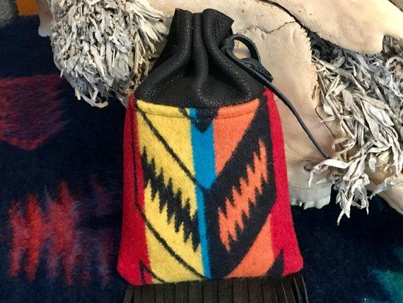 Fringed Medicine Bag XL / Cedar Bag / Possibles Bag / Drawstring Bag Wool & Leather Sunburst and Black