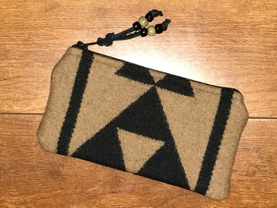 Wool Glasses Case / Tampon Case / Zippered Pouch Black Overall Southwestern Tribal Handcrafted with Pendleton Woolen Mill Fabric