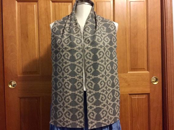 Wool Scarf / Blanket Wool Scarf / Blanket Scarf Unisex 62 x 8 1/2 Multi-Shade Grey