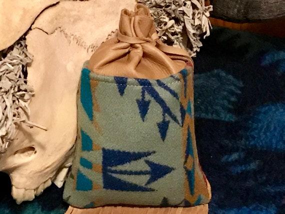 Fringed Possibles Bag XL / Cedar Bag / Medicine Bag / Drawstring Bag Wool & LeatherSage Green Echo Peaks