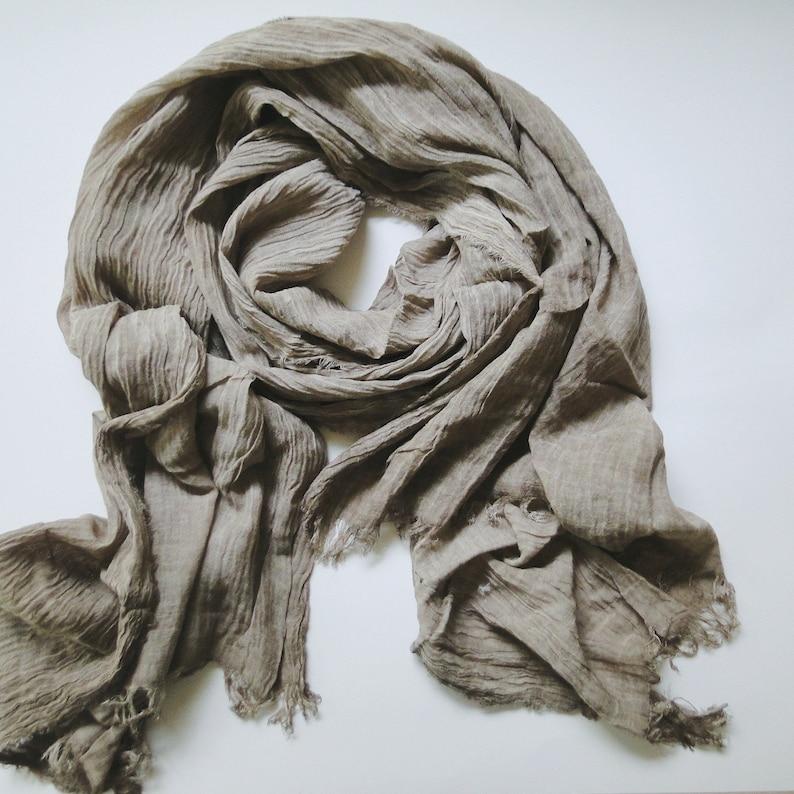 Large linen scarf in taupe tree bark  grey linen shawl boho image 0
