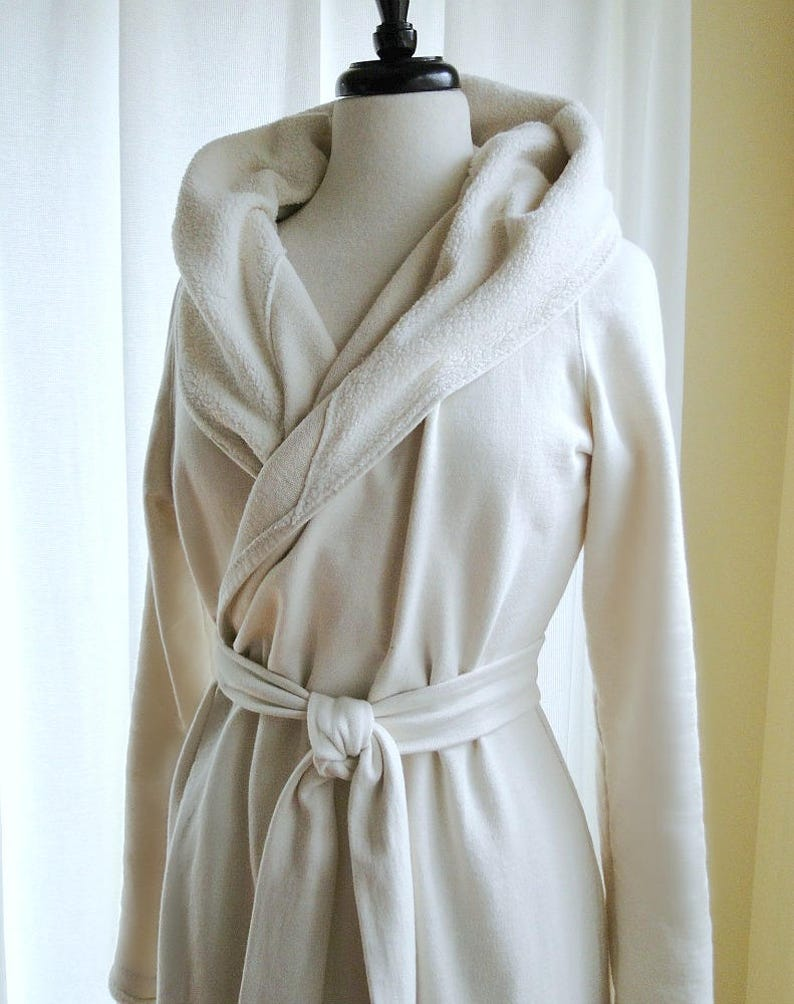 womens long robe - bamboo french terry bathrobe - made to order f9e0a4691