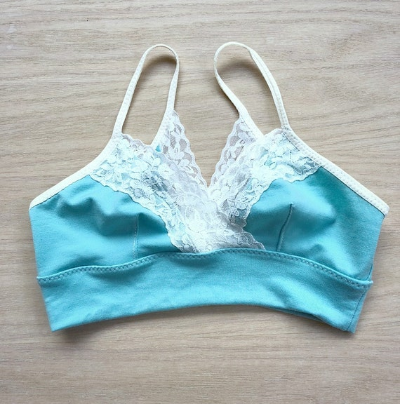 Wool Lace Bralette In Robin Egg Blue And Lace Made To Order Etsy