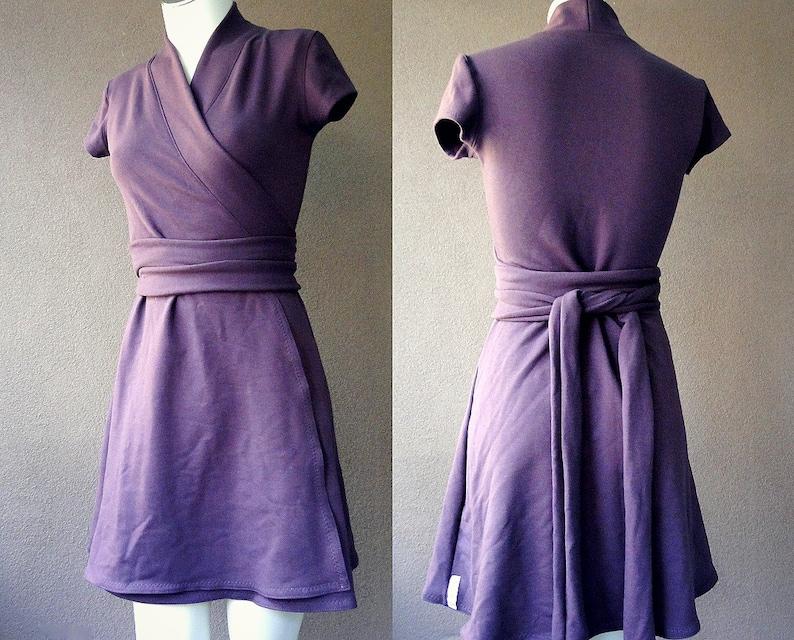 dc6f9004402d01 Womens wrap dress organic cotton short dress with cap | Etsy