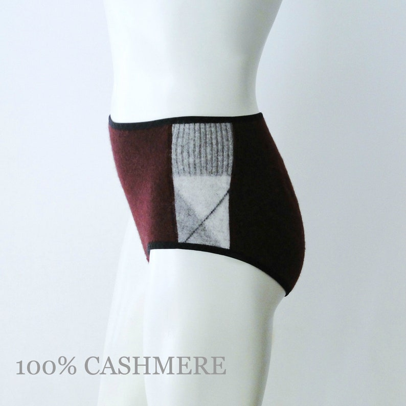 Cashmere panties dark plum and grey handmade lingerie image 0
