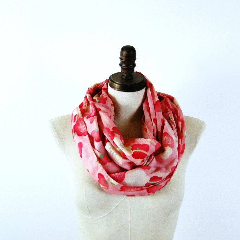 Summer scarf floral cotton infinity scarf pink red neck image 0